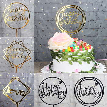 Creative Acrylic Cake Topper Happy Birthday Cake Toppers Baby Shower Party Cupcake Topper Kids Gifts and Favors Cake Decorations stitch animal birthday cake topper kids toys boys baby children birthday party small gifts decoration party cupcake toppers