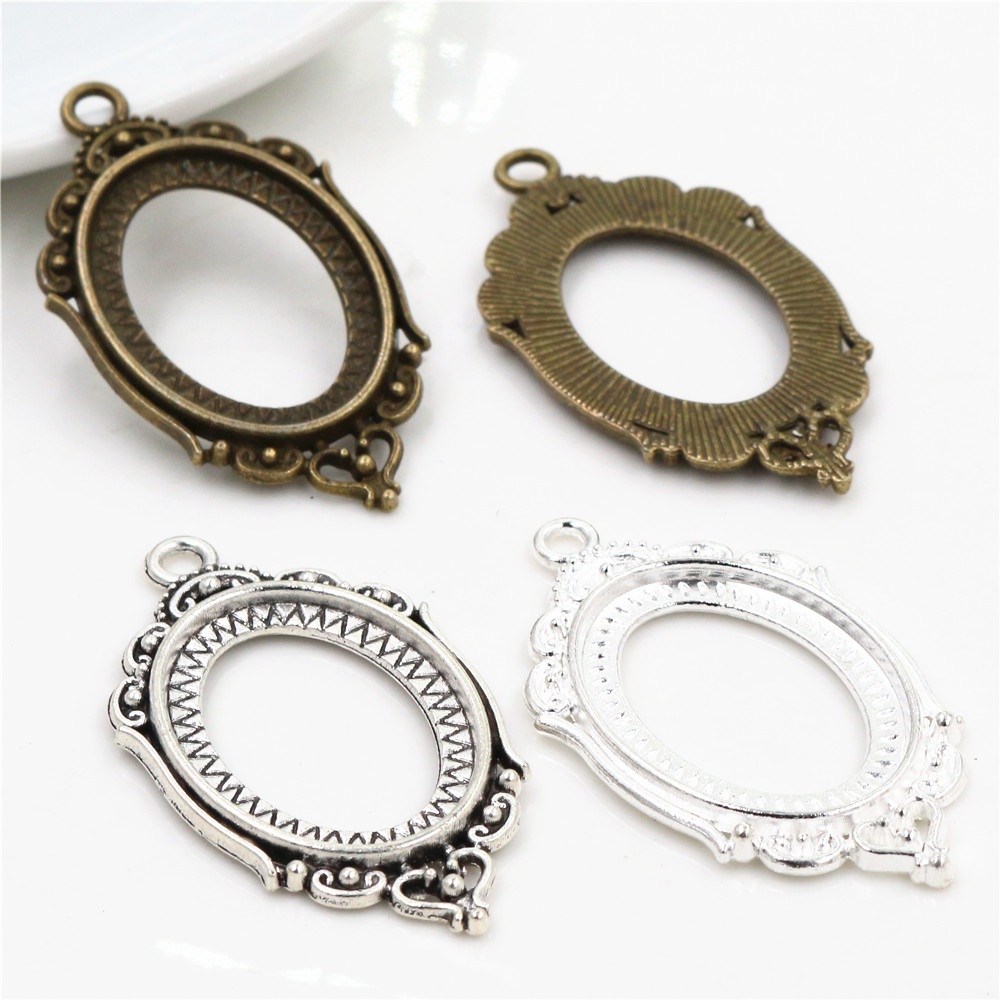 10pcs 18x25mm Inner Size Antique Silver Bronze And Silver Flowers Style Cameo Cabochon Base Setting Pendant Necklace Findings