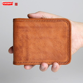 Men's Wallet Mael Retro Leather Short Wallet Cross Section Zipper Card Holder Coin Purse Vegetable Tanned Leather Wallets Tide image