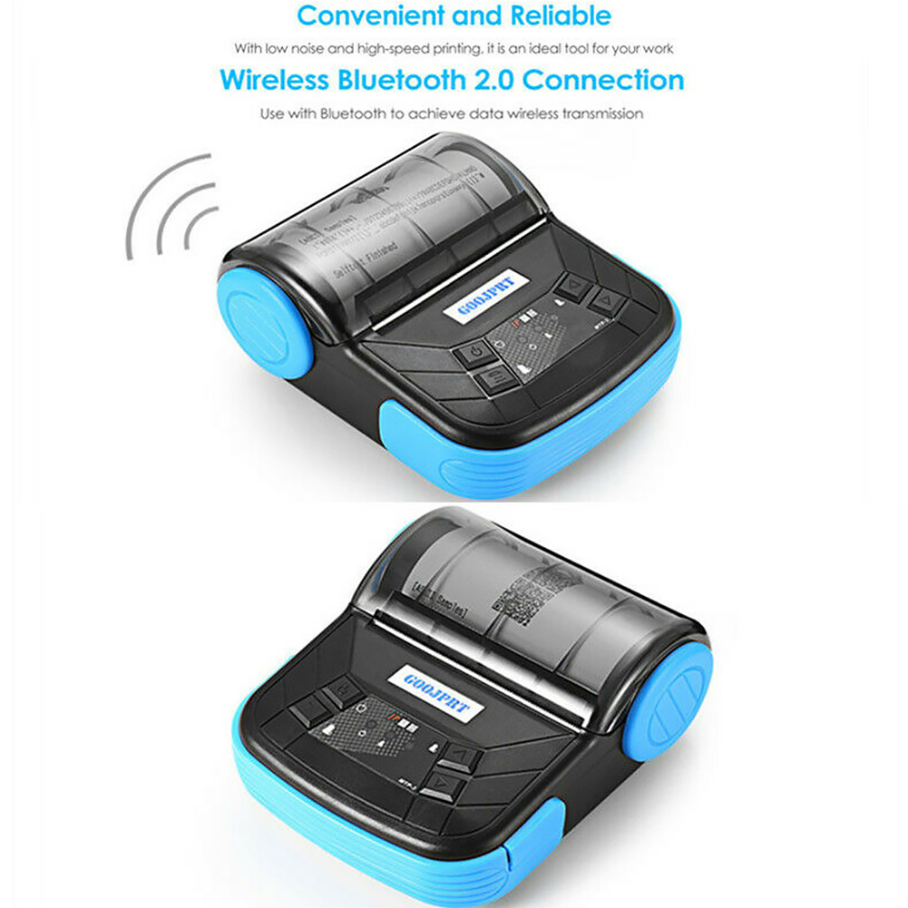 80mm Shop Low Noise Resaurant Smart High Speed Portable Receipt Rechargeable Thermal Printer IOS Android Bluetooth Convenient