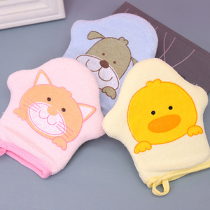 3 Colors Cat Soft Cotton Bath Shower Brush Cute Animal Modeling Sponge Powder Rubbing Towel Ball for Children