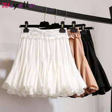 Pleated skirt women Chiffon Korean High Waist mini Skirt Women 2019 White Black korean sweet chic Mini