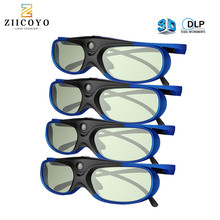 4PCS 3D Glasses For Projector Full HD Active DLP Link Glasses For Optama Acer BenQ ViewSonic Sharp Dell DLP Link Projectors
