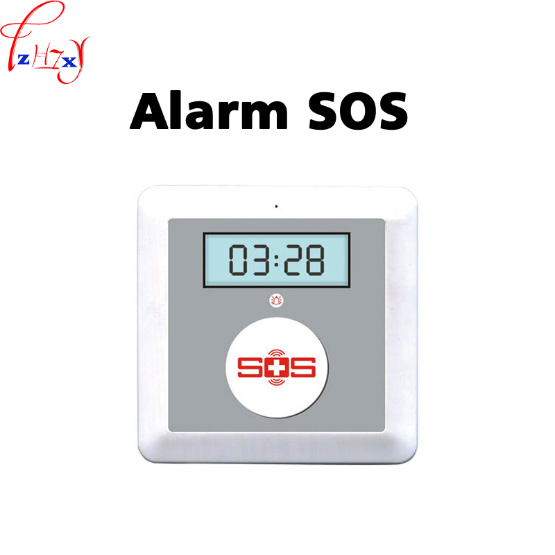 12V Old Man Pager Emergency Watch Alarm + Transmitter,Personal Home Elder People Alarm Security System SOS A Key For Help 1PC