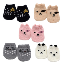 2019 New Winter Autumn Newborn Baby Socks Cartoon Print Sole Soft Sock Boys Girls Infant Toddler Anti-slip Plush Floor Socks candy color soft new born baby floor sock short anti slip ankle solid socks for infant boys girls