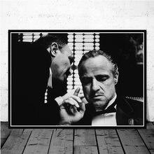 Filme clássico padrinho preto e branco mafia filme pintura em tela posters e cópias da arte da parede fotos para o quarto decoração casa