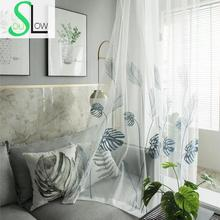 Window-Curtains Sheer-Drapes Bedroom Japanese-Plant Embroidered Tulle Living-Room Kitchen