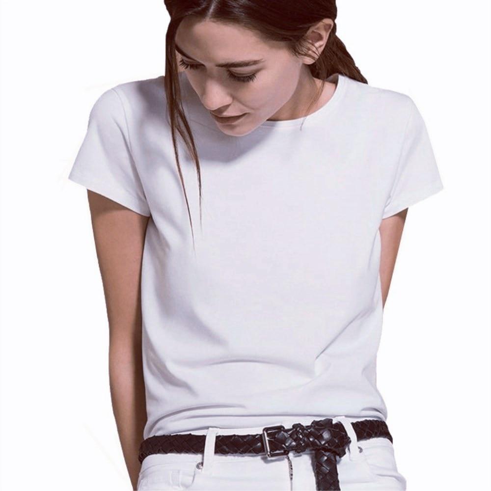 Manga curta simples camisa feminina algodão poliéster casual engraçado branco t camisa presente para lady yong menina topo t navio da gota