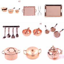 1:12 Scale Dollhouse Miniature Bronze Color Frying Pan Cooking Pot Kettle Cookware Kitchen Cooking Kit Dolls Accessories(China)