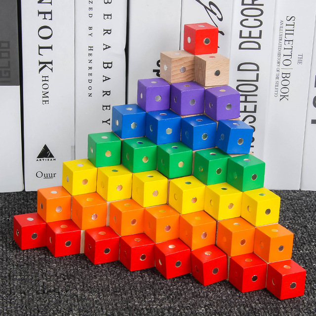 5pcs/bag 2X2CM Colorful Wooden Magnetic Cubes Building Blocks Tangram Game Kids Geometric Shape Color Learning Toys for Children