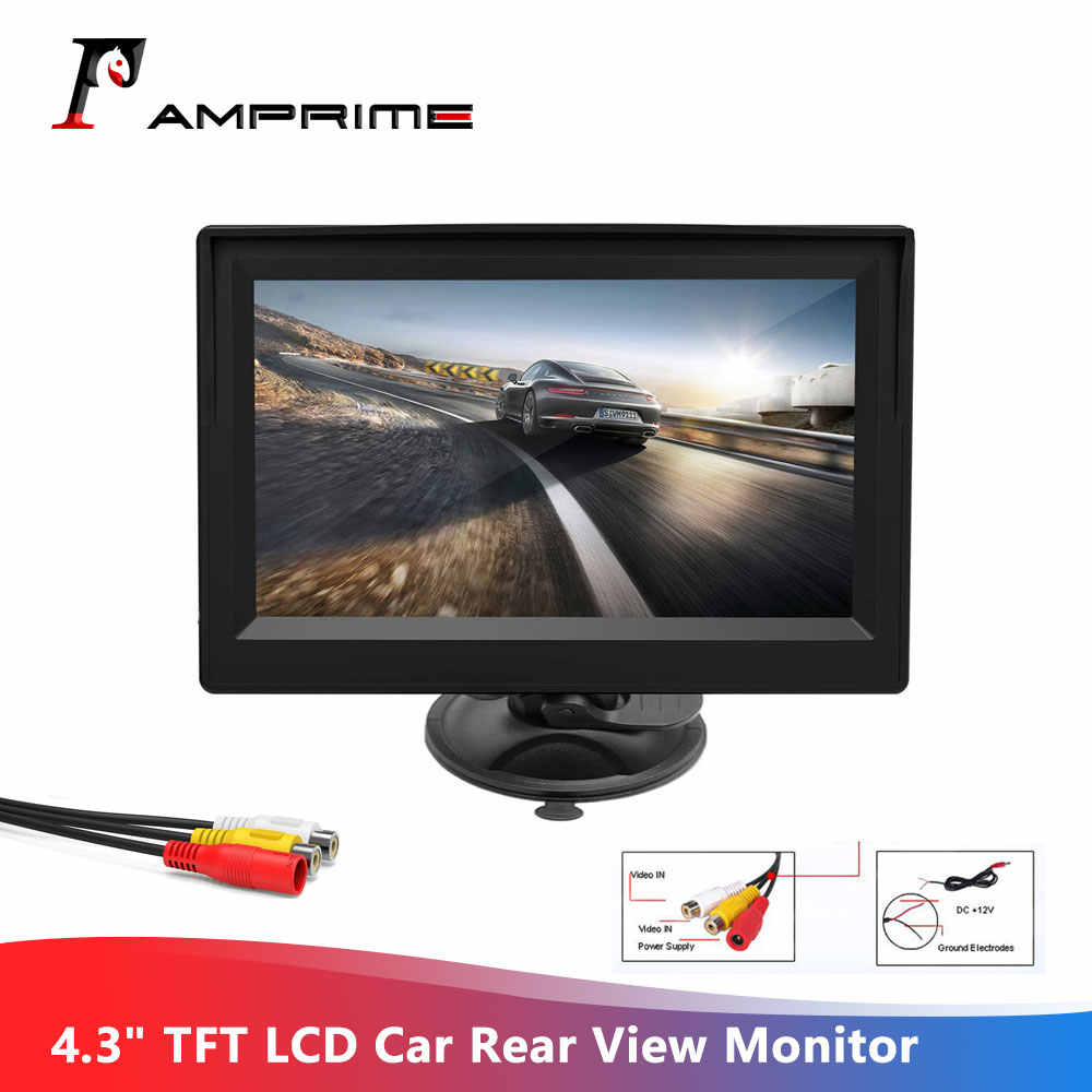 "AMPrime 4.3"" Car monitor TFT LCD Car Rear View Monitor Parking Rearview System for Backup Reverse Camera Support VCD DVD Auto TV"