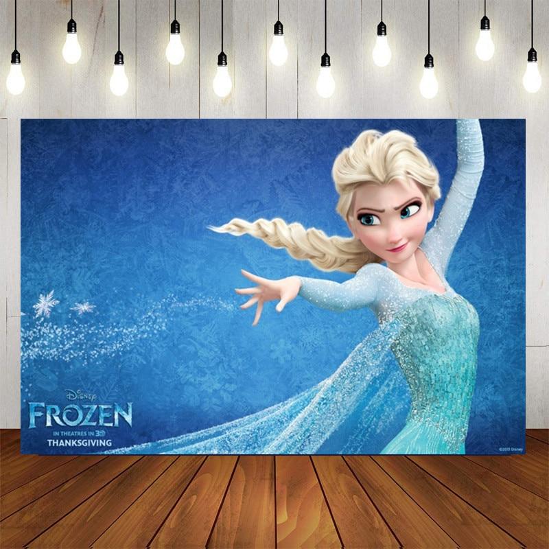 Frozen anna elsa princesa festa backdrops para foto personalizar feliz aniversário crianças decorações de festa do chuveiro do bebê suprimentos