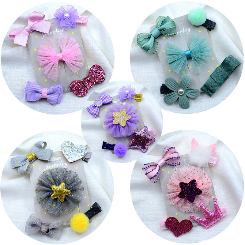 5 Pcs/Set Furball Baby Hair Clips For Girls Rhinestone Shiny Glitter Hair Pins Kids Princess Elsa Hair Clip Set Hair Accessories