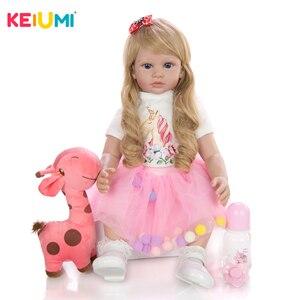 KEIUMI Cute Princess Doll 24 Inch Lifelike Real Girl Reborn Bonecas 60 cm Silicone Soft Body Reborn Dolls Menina Birthday Gifts(China)