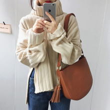 2019 autumn and winter new loose pits wide slit high collar pullover sweater coat sweater недорого