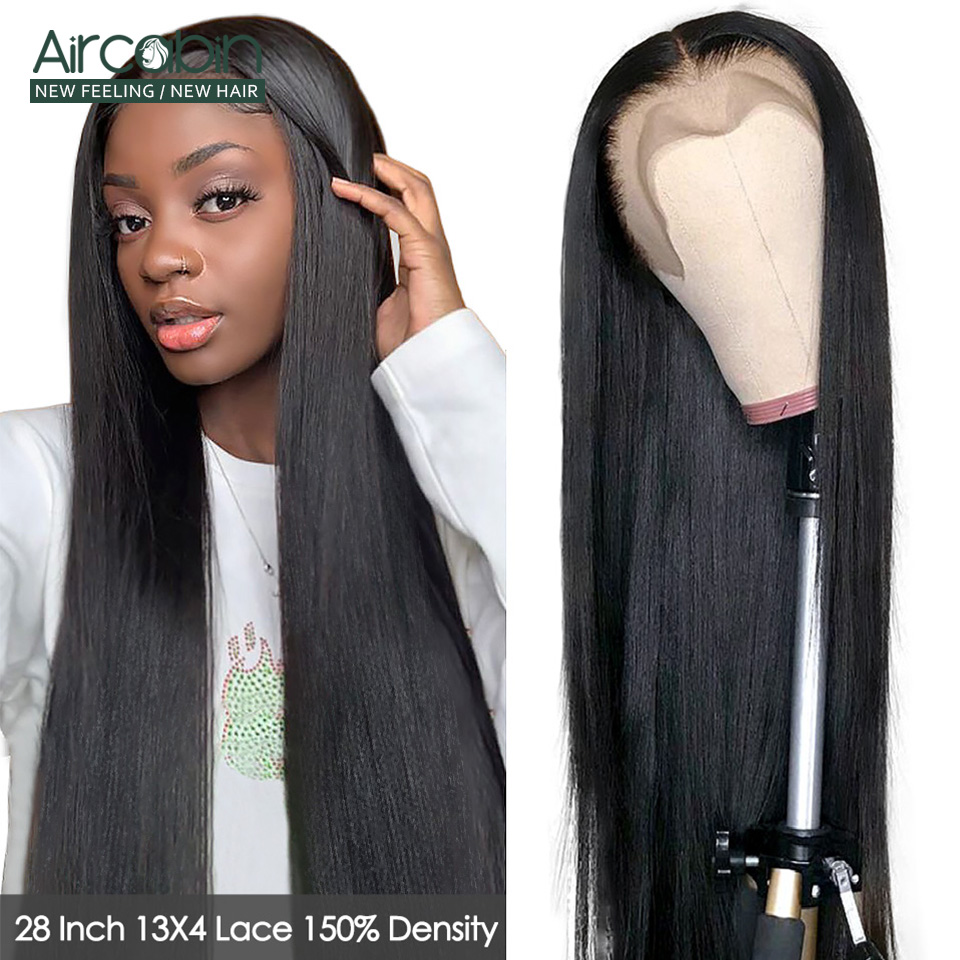 30 32 Inch Straight Lace Front Wigs For Women Aircabin Brazilian Remy Human Hair Glueless lace Closure Wigs 150% High Density