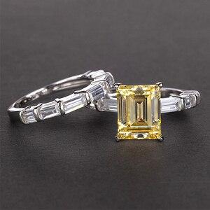 Image 3 - PANSYSEN 브랜드 리얼 925 스털링 실버 8x10MM 에메랄드 만든 moissanite 보석 반지 결혼 기념일 파인 쥬얼리 반지