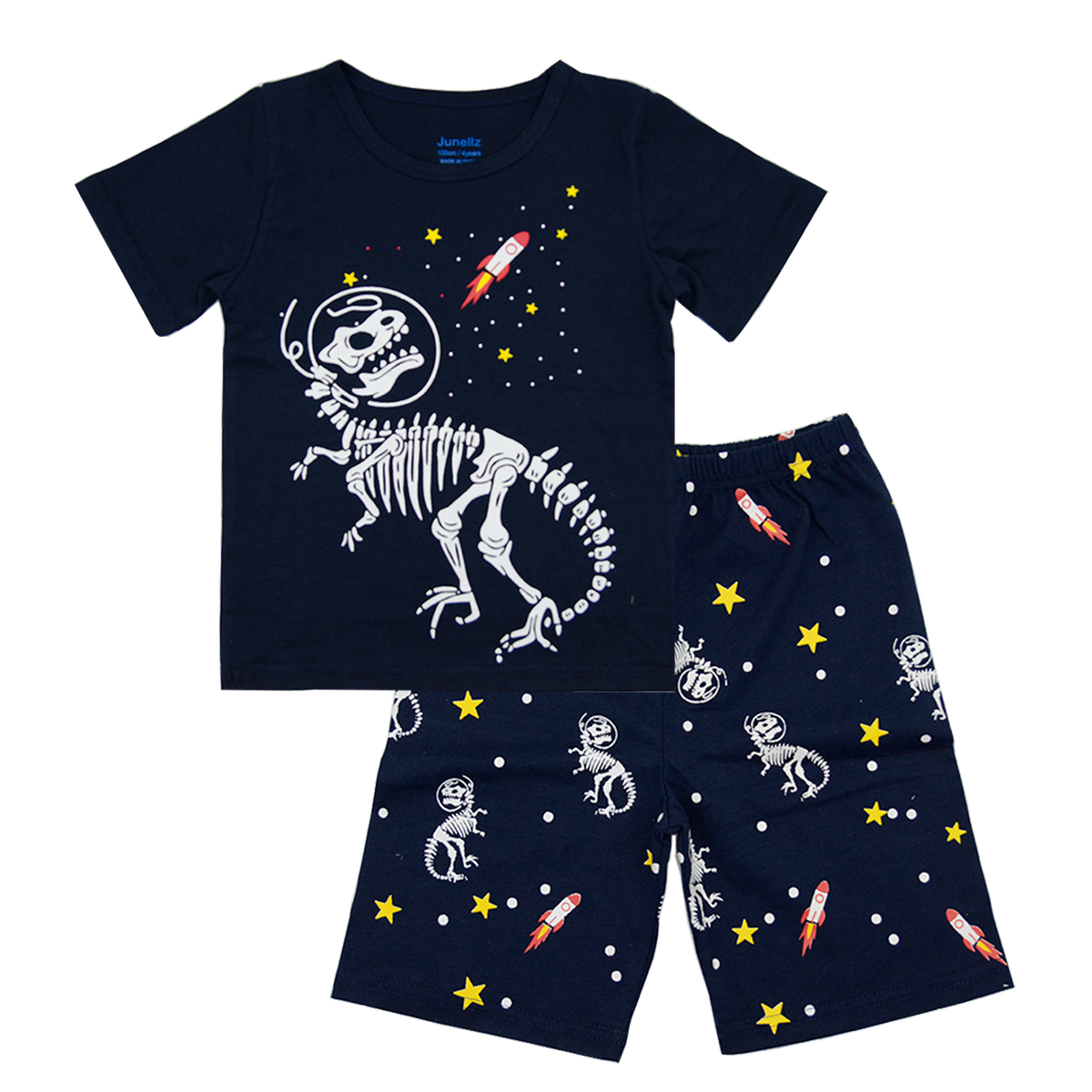 Junellz Boys Summer Pajamas Sets Glow in The Dark Dinosaur Gifts 100% Cotton Dinosaur Costume Kids Outfit Clothes Toddler Pjs