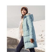 INMAN Winter Solid Hooded Straight Loose Warm Women Long Down Coat