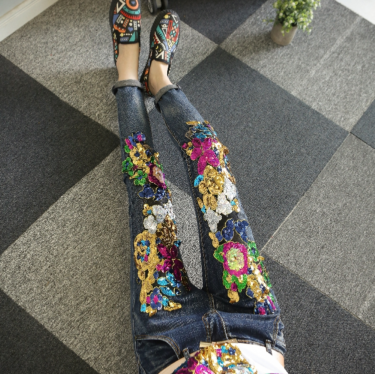 European Sequins Jeans Woman Fall Winter Jeans Heavy Industry Embroidered Sequin Worn Skinny Denim Pants Pencil Pants Femme