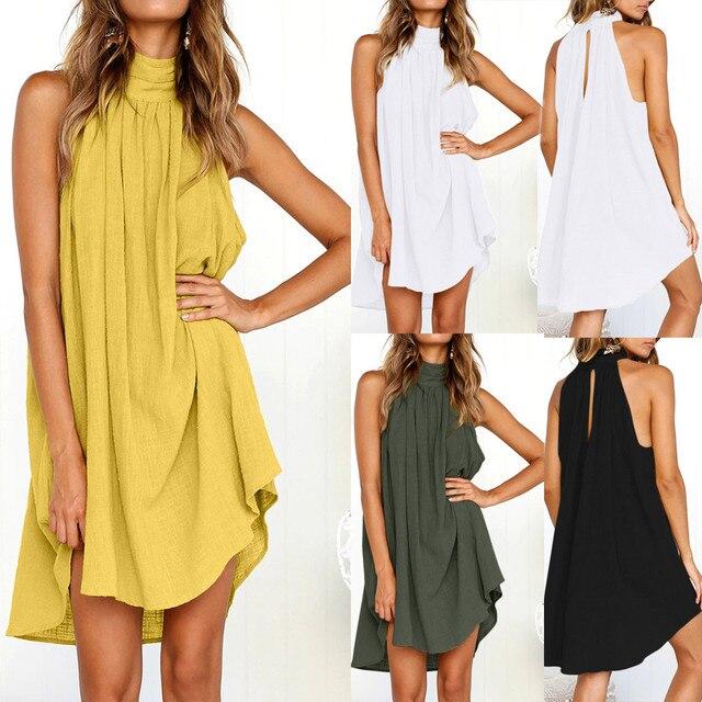 Dress Summer 2021 Women Fashion Casual Holiday Boho Irregular Dress Ladies Sleeveless Party Sexy  Short Dresses 1