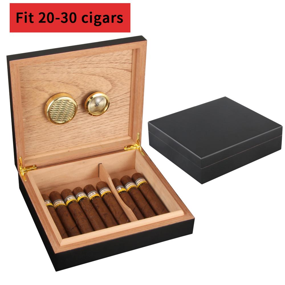 COHIBA Humidor Cigar Case Accessories Cedar Wood Travel Box with Humidifier Hygrometer