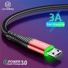 Lovebay micro cabo usb de carregamento rápido para samsung s7 a8 xiaomi 3 android redmi nota 5 plus para cabo de dados android usbmicro cabo