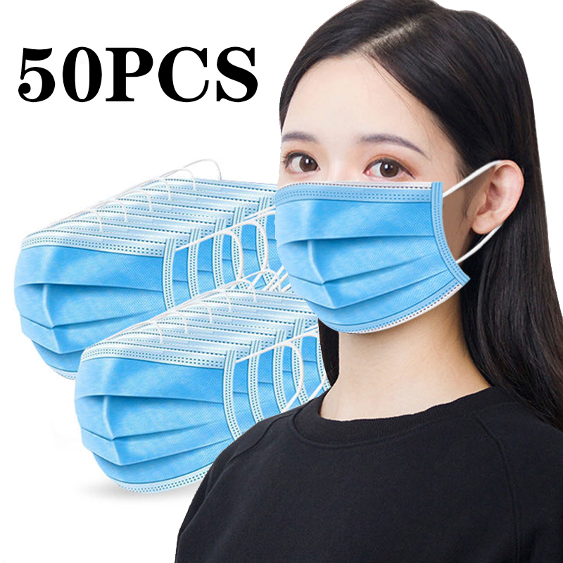 50PCS Anti-Dust 3 Layer Ear-hanging Dustproof Disposable Earloop Face Mouth Mask Household Protective Cover Masks