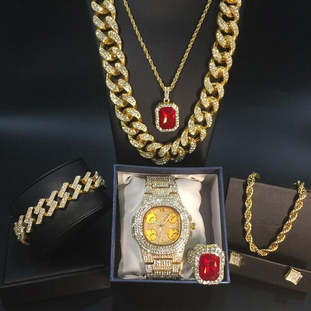 Conjunto de reloj y collar y pulsera y anillo de lujo para hombre, conjunto combinado de joyas de reloj cubano, cadena de Hip Hop 1