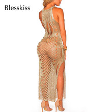 BLESSKISS Shiny Cut Out Beach Dress kobiety Sexy Bodycon strój kąpielowy Party strój kąpielowy osłona do Bikini Up Pareo Beachwear Gold(China)