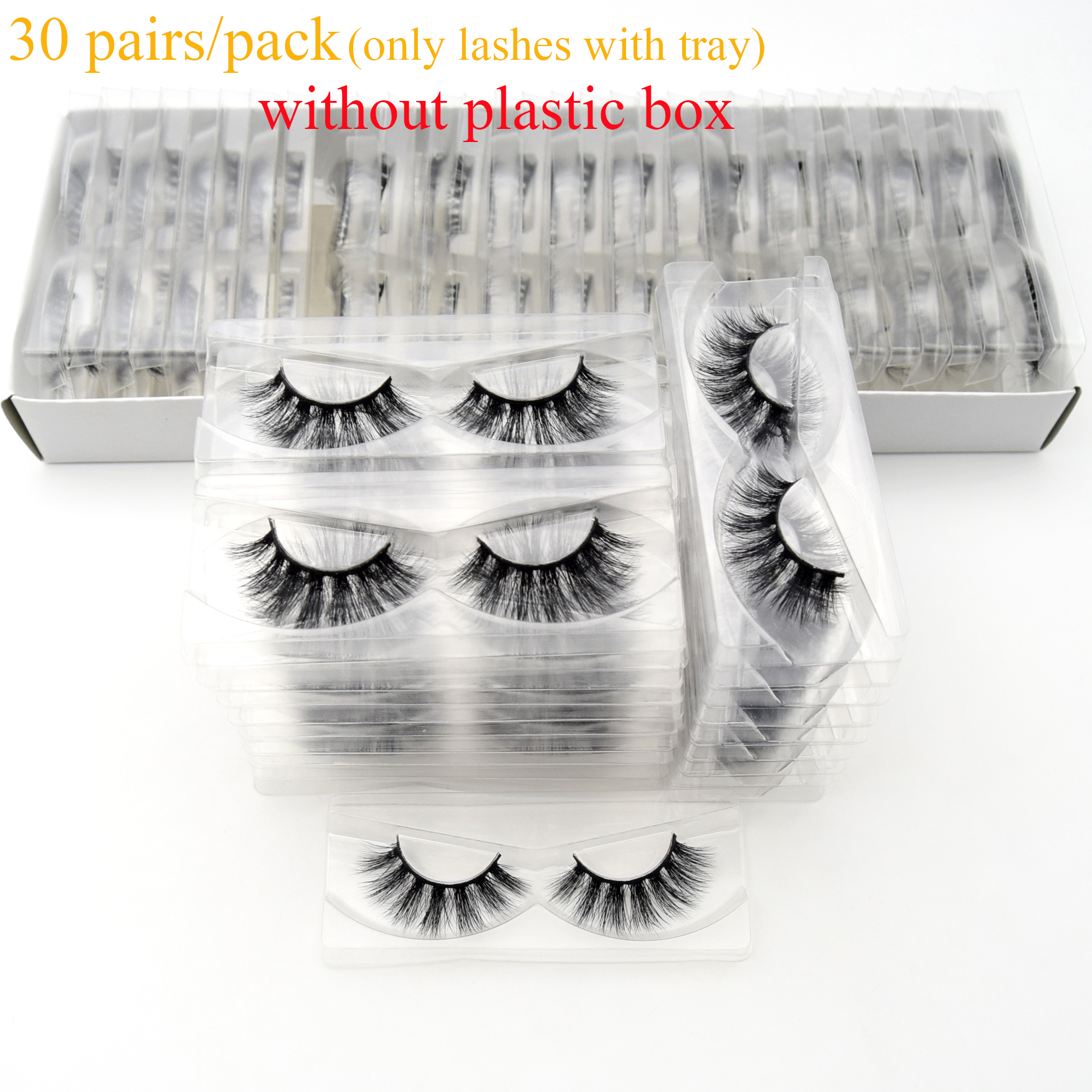 Visofree Mink-Eyelashes Tray Handmade Natural Reusable No-Box Full-Strip with 30/40/100/pairs