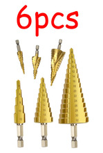 6pcs Titanium Coated Straight and Spiral Step Drill Bit Set Hex Shank Grooved Center  Accessories Cone