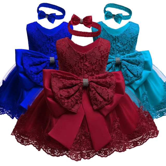 Nuevo vestido de boda de encaje para niñas. Vestidos de algodón para bautizo. Vestido de cumpleaños de 1 año para niñas.