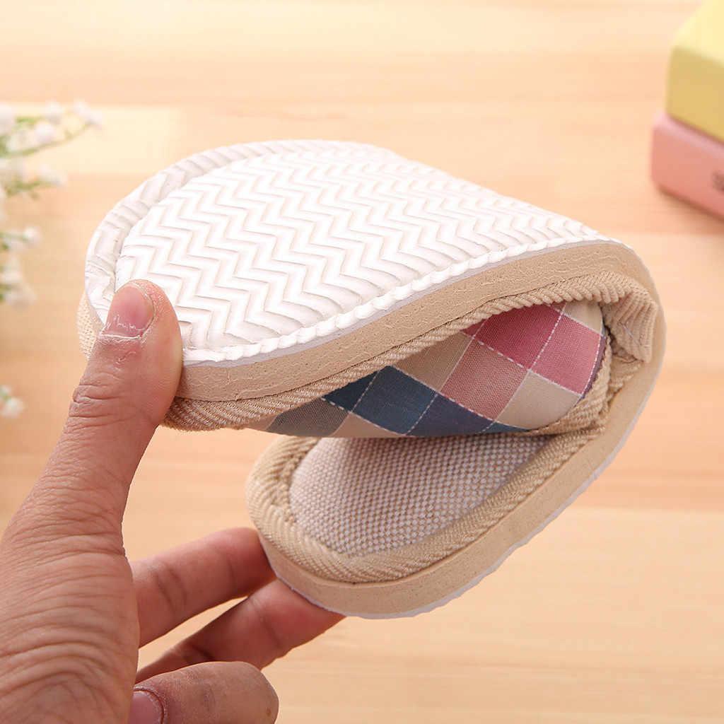 טבעי פשתן מאהב בית כפכפים נשים גברים אופנה מקרית זוגות משבצות בית נעלי בית מקורה רצפת שטוח נעלי #30
