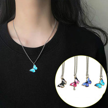 Titanium Steel Chain Colorful Dreamy Butterfly Necklace Women's Net Red Cool Hipster Clavicle Chain heyrock heavy sturdy double layer motorcycle chain bracelets cool biker men colorful painted titanium steel link bangles