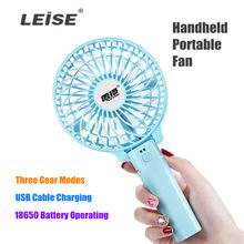 Draagbare Handheld Mini Fan 18650 Battery Operated USB Voeding drie Gear Modi Met 3.7V 18650 3450mah batterij USB Kabel(China)