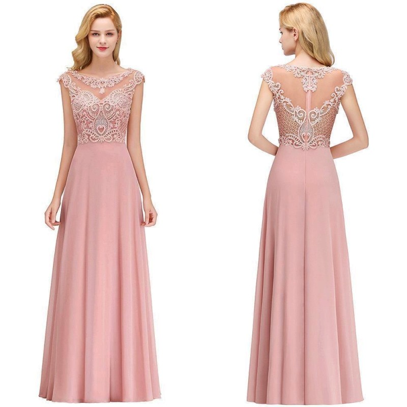 Pink Chiffon Long   Bridesmaid     Dresses   2019 Elegant A line Sleeveless Weedding Party Guest   Dress   Applique Pearl vestido madrinha