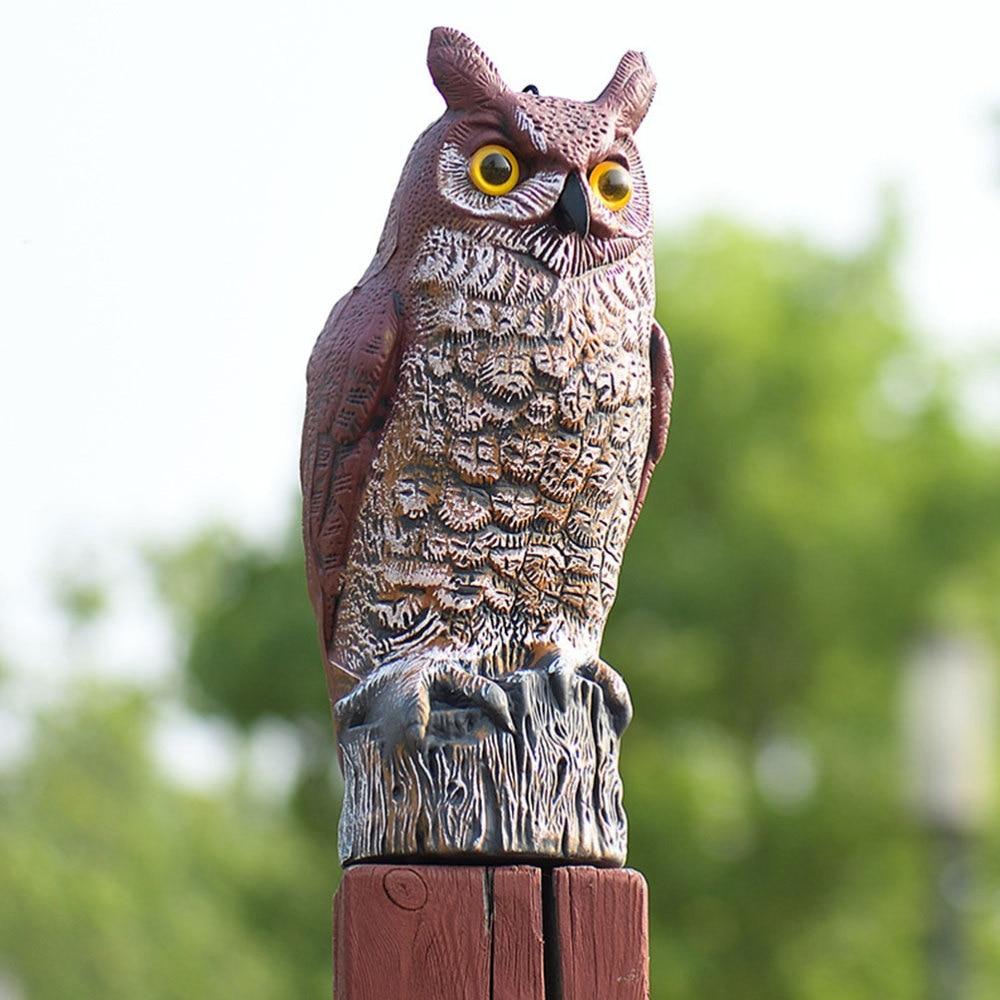 Colorful Plastic Ornament Owl Sculpture Rat Repeller Model Decor Ornaments Craft for Garden Outdoor (Light Brown) (Light Brown 43x17x15cm)