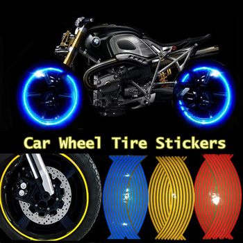 16Pcs 1718 Strips Motorcycle Car Wheel Tire Stickers Reflective Rim Tape Motorbike Reflective Rim Tape image