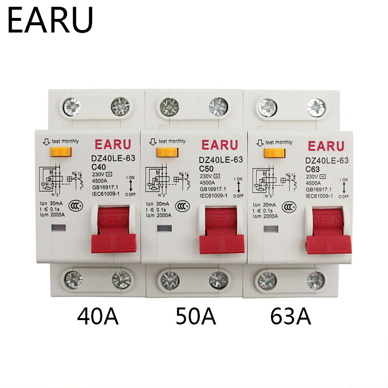 H3d09b7a64dc04b11823b11966da296f1w - DZ30L DZ40LE EPNL DPNL 230V 1P+N Residual Current Circuit Breaker With Over And Short Current  Leakage Protection RCBO MCB 6-63A