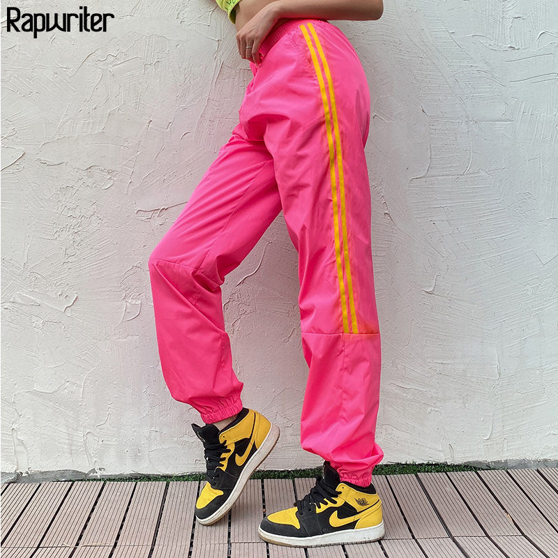 Rapwriter Fashion Panelled Strip Sweatpants Pink Women 2020 Casual Stretch High Waist Loose Trousers Streetwear  Jogger Pants