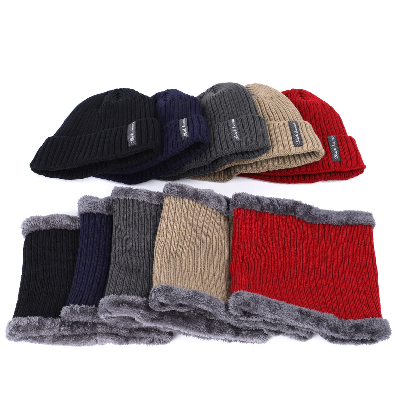 2-Piece Set Winter Men's Hat Knitted Hat Set Adult Cap Warm Hat Plus Velvet Thick Hat Scarf Warm Scarf
