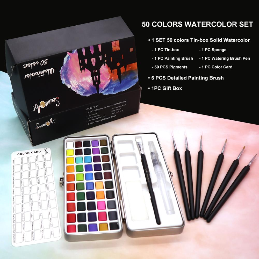 SeamiArt 50Color Solid Watercolor Paint Set Portable Metal Box Watercolor Pigment for Beginner Drawing Watercolor Paper Supplies 1