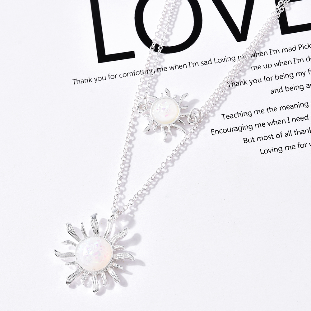 Sunflower Two Layers Necklace Gold Silver Color Sun Opal Gem Pendant Boho Choker Necklaces for Women Girls Wedding Gifts Jewelry