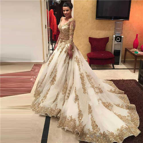 Luxury V-neck Gold Emrboidery Organza Tulle Ball Gown  Wedding Dresses Beading Appliques Vestido De Custom Made  Bridal Gowns