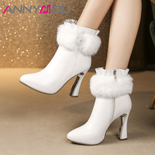ANNYMOLI Winter Ankle Boots Women Natural Genuine Leather Zip Strange Style Heel Short Fur Super High Shoes Lady Fall