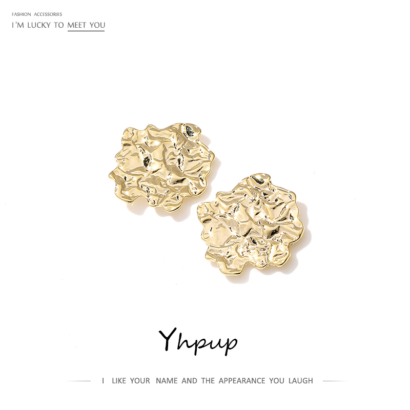Yhpup Irregular Geometric Stud Earrings Minimalist Zinc Alloy Charm Vintage Metal Earring Orecchini For Women Party Jewelry Gift