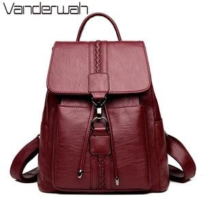 Image 1 - Bagpack Luxury Women Backpack Genuine Leather Backpacks for Teenage Girls Female School Shoulder Bags For Women 2019 Mochila Sac