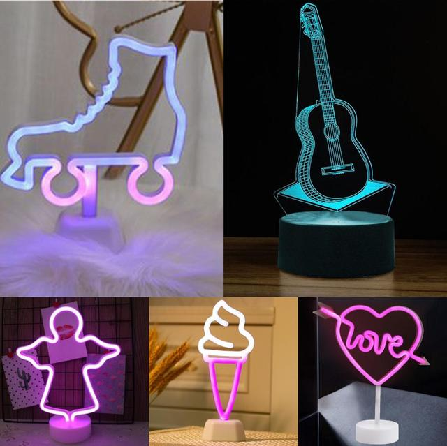 Decorative Angel Ice cream LED Neon Light Sign with Base 7 Colors Guitar Lamp USB Room Night Light Home Wedding Party Decoration