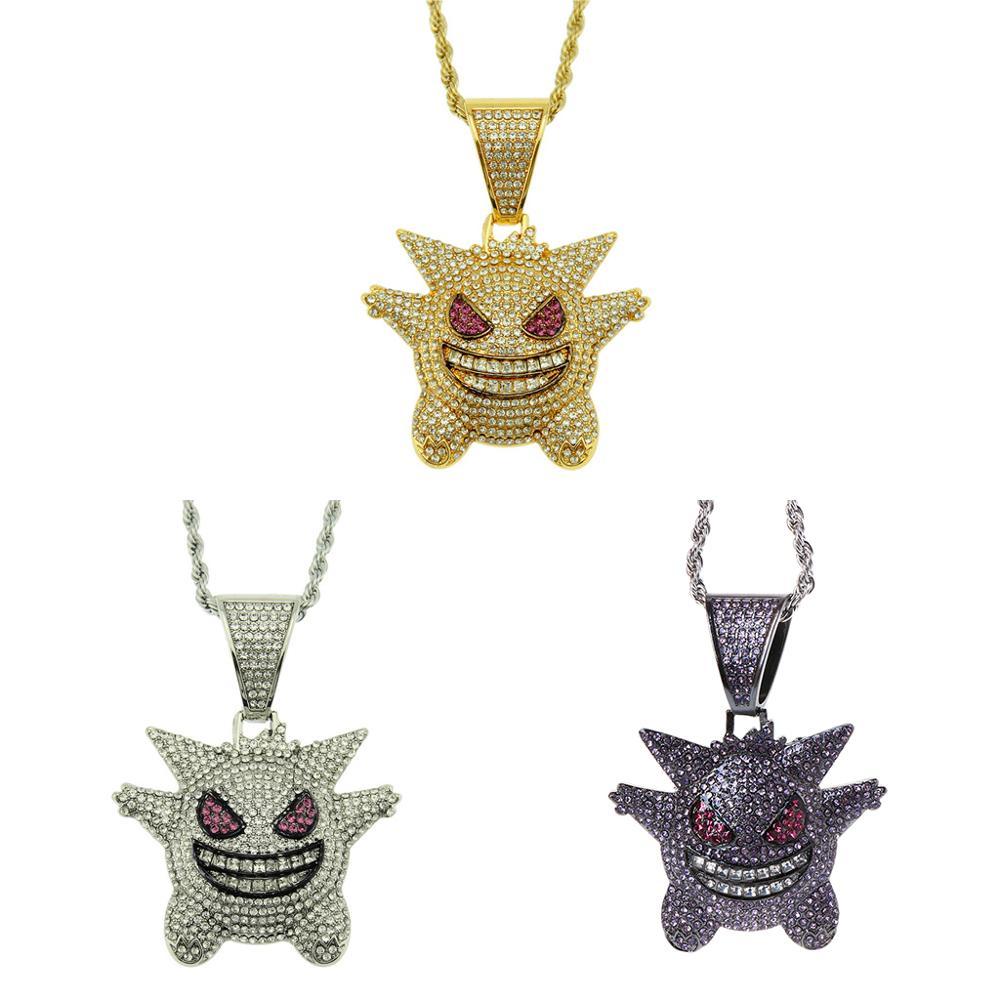 Bijoux Rock Punk glacé brillant CZ Gengar Vampire taureau pendentif collier